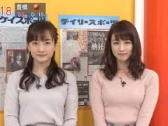 新井恵理那さん、今週のニット上向きおっぱい。