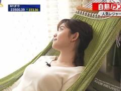 WBSで田中瞳アナのハンモック寝転びおっぱい
