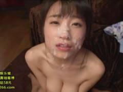 巨乳の長瀬麻美がザーメン隊に連続ブッカケを浴びて顔面ドロドロになる
