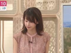 加藤綾子アナ、シースルーでインナーがスケスケ。
