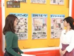 新井恵理那がピチピチニットでツンと上向きの美乳そうなエロおっぱいの形がくっきりキャプ!フリーアナウンサー