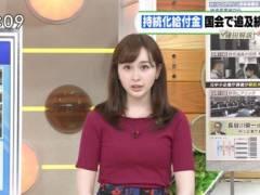 宇賀神メグアナがピチピチニットでムチムチの豊満なエロおっぱいの形が浮き彫りの着衣巨乳キャプ!TBS女子アナ