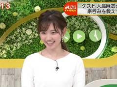 テレ東・田中瞳アナ、白ニットのおっぱい。