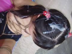 【3次元】髪にぶっかけてザーメントリートメントされるエロ画像集!(50枚)