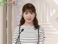 佐藤真知子アナがピチピチニットでムチムチおっぱいの形が浮き彫りの着衣巨乳キャプ!