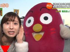 角谷暁子アナが横浜赤レンガ倉庫で谷間クッキリ胸チラ連発