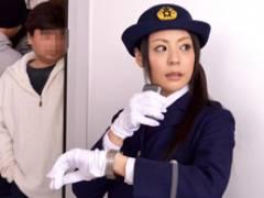 人妻の女性車掌が深夜、真っ暗な車庫の電車の中で痴○とセックス! 愛田奈々
