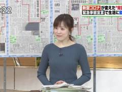 TBS江藤愛アナのニット横乳がエロい。