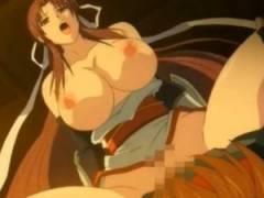 【エロアニメ】 巨乳くノ一を自慢のデカチンでイカせる中出しセックス&くノ一妹にエッチな調教してイラマチオ口内射精