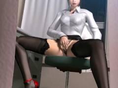 【3Dエロアニメ】保健室で激しくオナる美人保険医を目撃!我慢できずにシコってたらバレてしまい……