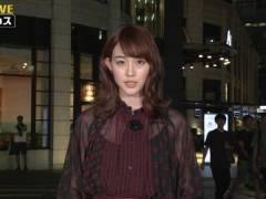 新井恵理那さん、シースルーでインナーが透けてる。