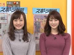 新井恵理那さん、ニットで強調してる上向きなおっぱい。