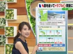日比麻音子アナの黒いブラジャーの肩紐が丸見えハプニングキャプ!TBS女子アナ
