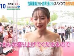 吉岡里帆がシースルーのセクシードレスで透け透けおっぱいの谷間キャプ!