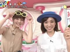 佐藤梨那アナがノースリーブで両腕上げて綺麗なエロいワキが丸見えキャプ!日本テレビ女子アナ