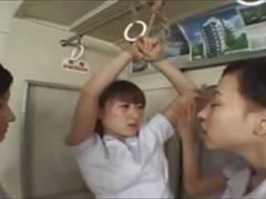 レズ看護婦さんが同僚を縛り上げて濃厚なレズキス