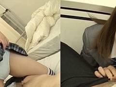 ニーハイソックJKの石川祐奈ちゃんがスカート捲り上げてパンチラ誘惑!
