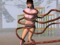 【3Dエロアニメ】 触手に絡みつかれておっぱい&オマンコ愛撫される美少女