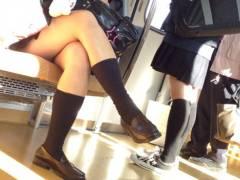 【JK画像】生意気に脚組んでてもムッチリ太ももに免じて許せる電車JKたち!