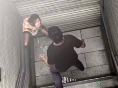 【3DCG】地下鉄の入口で露出バイブオナニーするメガネ痴女、近づいて見ていたら求められ…