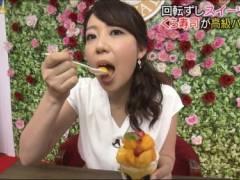 須黒清華アナのエロい擬似フェラチオ食べ顔キャプ!テレビ東京女子アナ