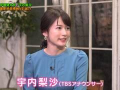TBS宇内梨沙アナ、ワキ汗と巨乳でパツパツな胸元。