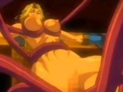 【エロアニメ】 触手モンスターに媚薬針刺されてクリトリスがチンポみたいに肥大化して潮吹きイキさせられる金髪美女