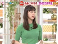 斎藤ちはるアナがピチピチの緑ニットでムチムチの美乳そうなエロおっぱいの形がくっきりキャプ!テレビ朝日女子アナ