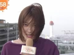 阿部華也子の白いブラジャーの肩紐が丸見えハプニングキャプ!お天気キャスター