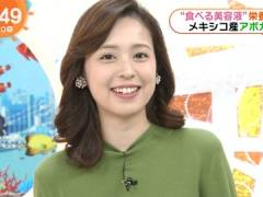 フジ久慈暁子アナ、ニットワンピでおっぱいのカタチがくっきり。