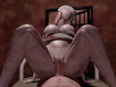 【3Dエロアニメ】廃病院を肝試しに使う不届き者を捕まえてお仕置きするバブルヘッドナースさん【サイレント○ル】