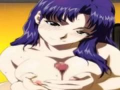 【エロアニメ】 エヴァの葛城ミサトにパイズリとフェラしてもらってぶっかけ顔射し本番中出しセックス