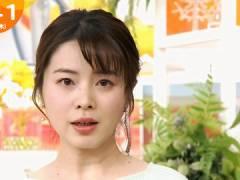 TBS皆川玲奈アナ、早朝からエッチなニット横乳。