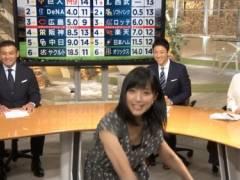 竹内由恵アナの前かがみ胸チラブラチラおっぱいキャプ!