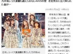 乃木坂46レコ大2連覇も越えられないAKBの壁 「老若男女に広く知られた曲」 【東スポ】