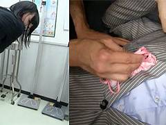 女教師彩葉みおりさんのスーツのタイトスカートを撫で回してお尻に精子スカートぶっかけ!