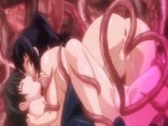【エロアニメ】 触手チンポにオマンコ&アナル犯されながらレズプレイして快楽堕ちする美少女たち