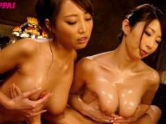 篠田あゆみ 松嶋葵 ボンッキュッボンのドスケベボディの巨乳お姉さん二人に挟まれて夢心地!