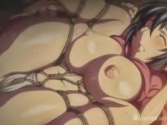 【睡眠姦】巨乳くノ一が睡眠中に亀甲縛りにされて、そのエロい肢体をいじくり回される!
