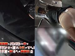 満員バスでスーツ姿のストッキングOLを狙うチカン師!パンスト内に固定バイブで潮吹き