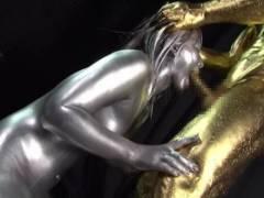 上原亜衣 全身銀粉に包まれる巨乳女神が金粉チンコを激しくイラマチオに鼻フックで顔面崩壊