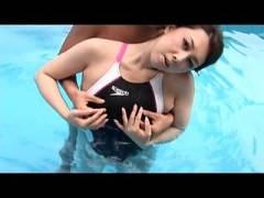 【熟女】巨乳熟女 風間ゆみ 例のプールで競泳水着セックス!