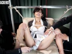 本城小百合 スーツに黒ぶちメガネの美女が吊り下げ緊縛で強制クンニ!躰をのけぞり感じまくり!
