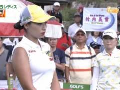 巨乳美女プロゴルファー竹内美雪がピチピチノースリーブでムチムチのロケットおっぱいの形がくっきりの着衣巨乳キャプ!