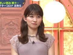 TBS山本里菜アナ、おっぱいのカタチが浮いてしまった胸元。