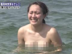 【放送事故】元なでしこ丸山桂里奈が男たちに乳首見られてしまう…自前の水着で海に入った結果…【エロ画像16枚】