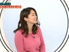 杉浦友紀アナの豊満なエロおっぱいの形が浮き彫りの着衣巨乳キャプ!NHK女子アナ