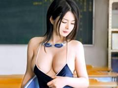 綾瀬れん はち切れそうな爆乳Hカップ!スク水美女とコスプレSEX