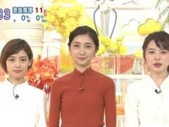 TBS近藤夏子アナ、ニットのパツパツな胸元。