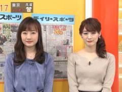 新井恵理那さん、ニットの上向きなおっぱい。